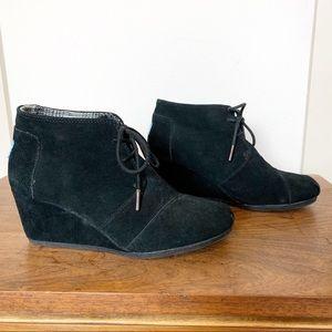 Toms | Desert wedge booties black suede size 8